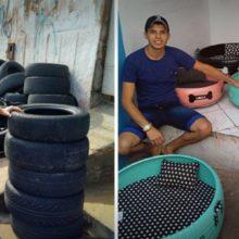 Homem transforma pneus usados em lindas caminhas para Pets