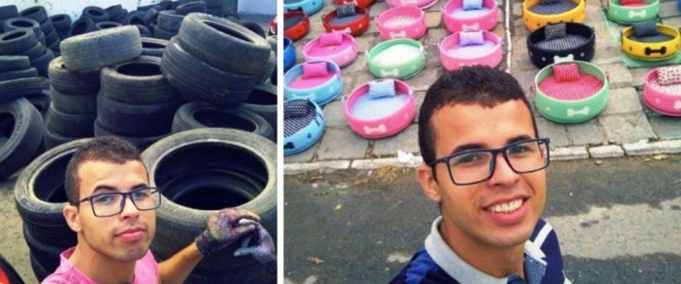Jovem reciclou pneus velhos e criou caminhas para cães de rua