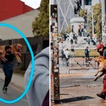 Homens carregam cachorros para salvá-los do gás lacrimogêneo no Chile