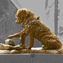 Escultura homenageia cachorros militares, é emocionante ver essa escultura