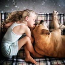 Menininha de 6 anos fica ao lado do seu cachorro idoso até o seu último suspiro