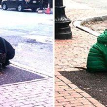 Mulher dá para cão sua jaqueta para que ele não passe frio