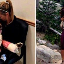 Mulher carrega cão de 22 kg nas costas por 6 horas para poder salvar sua vida