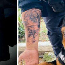 Cão rottweiler K9 salva a vida do guarda e ele tatua o rosto do cãozinho como agradecimento
