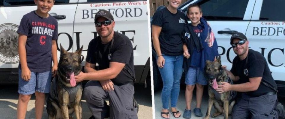Garotinho de 10 anos arrecadou dinheiro para ajudar na compra de coletes à prova de balas para cães policiais