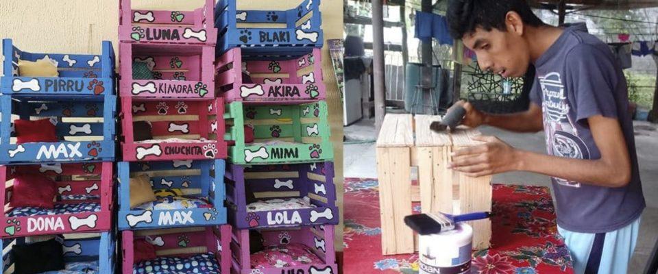 Jovem com deficiência faz camas para cães e gatos e as vende para sustentar sua família