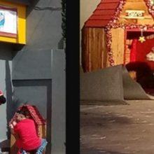 Trabalhadores adotam cachorro de rua e decoram sua casinha para o natal