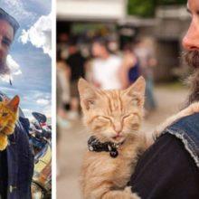 Motociclista salva gatinho queimado e agora tem um companheiro de estrada