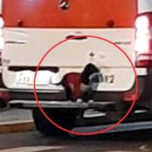 Cão sobe no para-choque de uma ambulância para acompanhar o tutor ao hospital