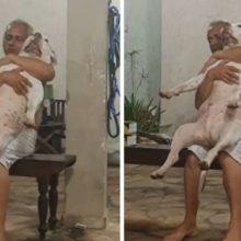 Homem não queria cachorro de jeito nenhum, mas depois de adotar um tudo mudou, ele até canta para ele