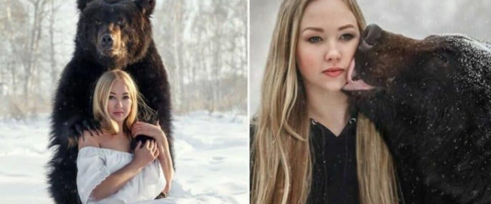 Mulher russa resgatou um urso de um zoológico e agora eles são melhores amigos